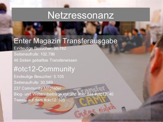 NetzressonanzEnter Magazin TransferausgabeEindeutige Besucher: 30.762Seitenaufrufe: 102.78646 Seiten geballtes Transferwis...