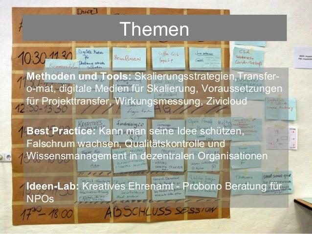 ThemenMethoden und Tools: Skalierungsstrategien,Transfer-o-mat, digitale Medien für Skalierung, Voraussetzungenfür Projekt...