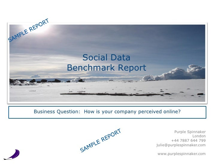 Social Data                  Benchmark ReportBusiness Question: How is our company and services perceived online?         ...