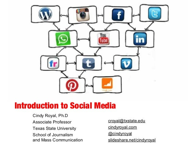 Introduction to Social Media Cindy Royal, Ph.D Associate Professor Texas State University School of Journalism and Mass Co...