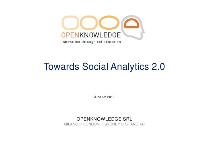 Towards Social Analytics 2.0               June 4th 2012         OPENKNOWLEDGE SRL    MILANO LONDON SYDNEY SHANGHAI