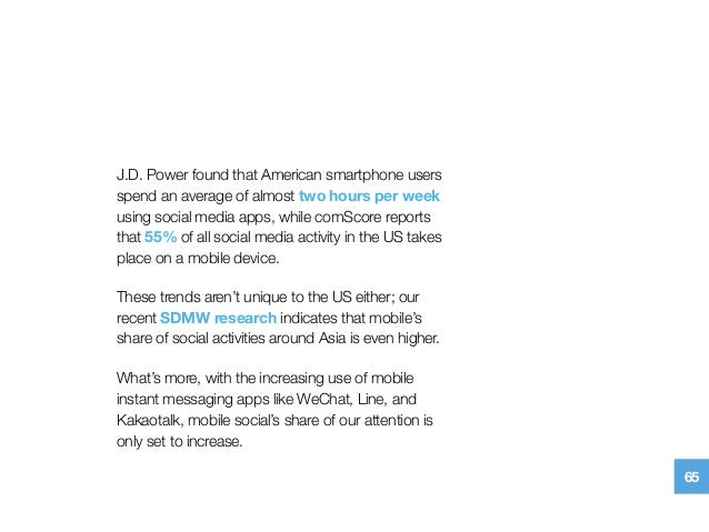 J.D. Powerfound that American smartphone users spend an average of almost two hours per week using social media apps, whi...