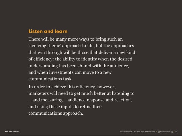 We Are Social PRINCIPLE 6FROM SELECTIVE HEARING TO ACTIVE LISTENING Social Brands: The Future Of Marketing • @wearesocials...