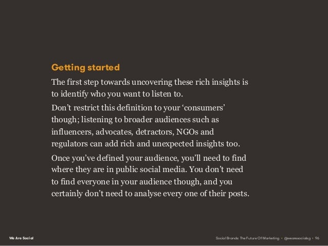 We Are Social Schedule your listening A great way to start is to find a few dozen people talking about something generic (...