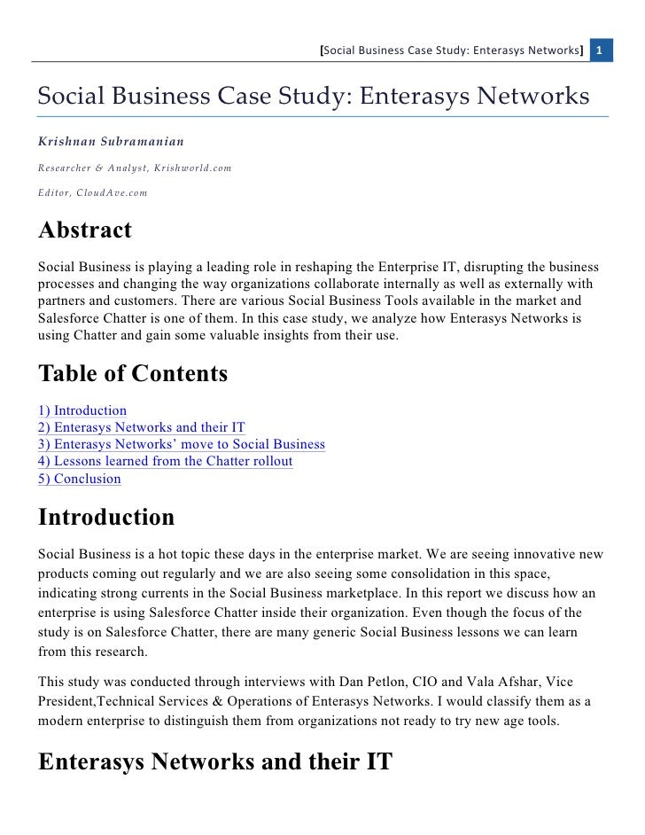[Social	  Business	  Case	  Study:	  Enterasys	  Networks]	   1    Social  Business  Case  Study:  Enterasys  Networks  Kr...