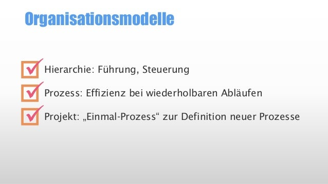 """Organisationsmodelle  Hierarchie: Führung, Steuerung  Prozess: Effizienz bei wiederholbaren Abläufen  Projekt: """"Einmal-Pro..."""