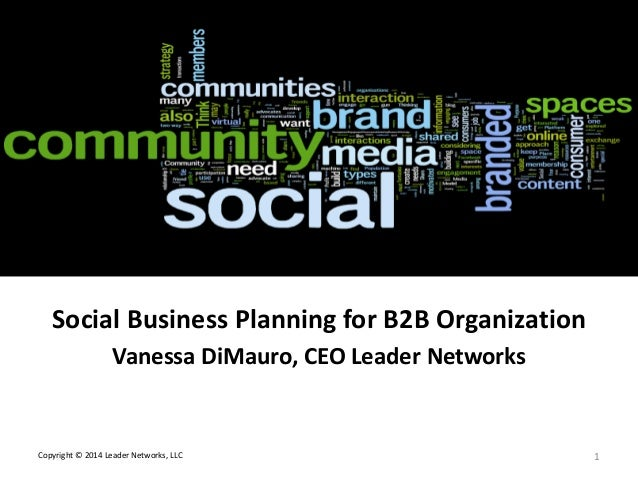 L E A D E R NETWORKS  Social Media Strategy Roadmap Social Business Planning for B2B Organization Vanessa DiMauro, CEO Lea...