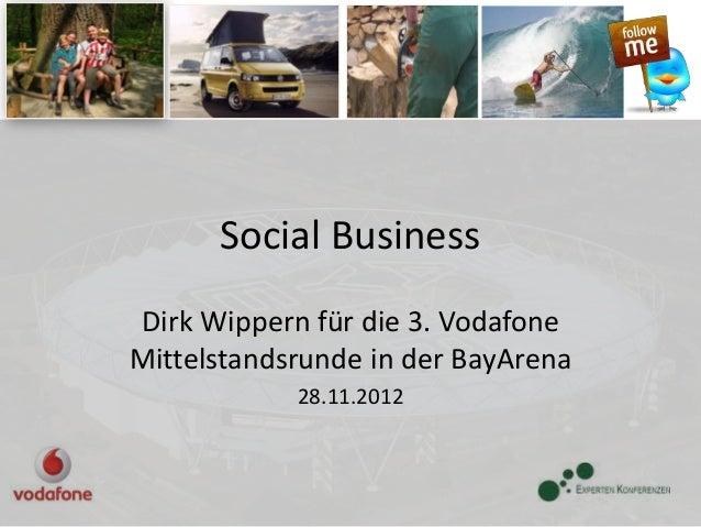 Social BusinessDirk Wippern für die 3. VodafoneMittelstandsrunde in der BayArena            28.11.2012