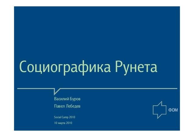 Социографика Рунета Василий Буров Павел Лебедев Social Camp 2010 10 марта 2010