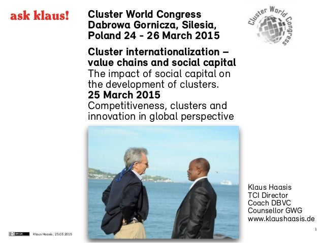 Klaus Haasis, Cluster World Congress Dabrowa Gornicza, Silesia, Poland 24 - 26 March 2015 Cluster internationalization – v...