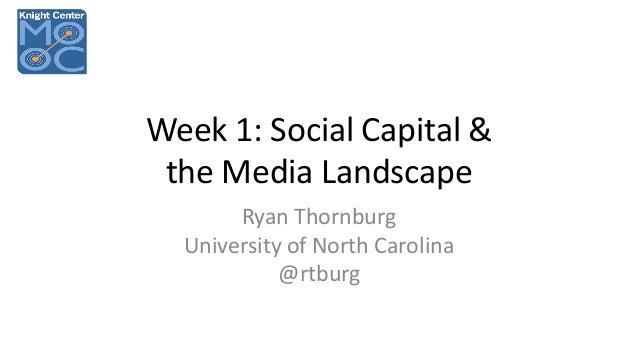 Week 1: Social Capital & the Media Landscape Ryan Thornburg University of North Carolina @rtburg