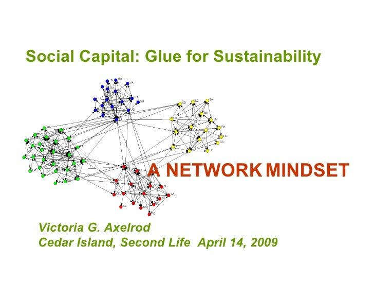 Social Capital: Glue for Sustainability  Victoria G. Axelrod Cedar Island, Second Life  April 14, 2009  A NETWORK   MINDSET