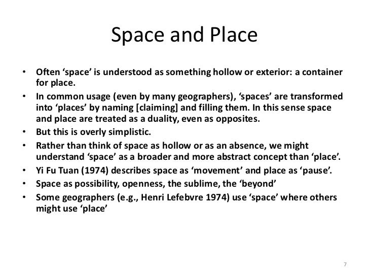 space and place Music, space and place: popular music and cultural identity (ashgate popular and folk music) [andy bennett] on amazoncom free shipping on qualifying offers music, space and place examines the urban and rural spaces in which music is experienced, produced and consumed.
