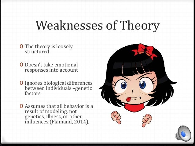 strengths and weakness of social cognitive theory Strengths and weaknesses of the social learning theory uploaded by julius   the social learning theory has many strengths but one of its key strengths is the  fact that bandura verified the first concept  analysis on social cognitive theory.