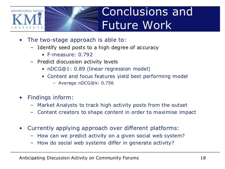 Conclusions and                                   Future Work• The two-stage approach is able to:    – Identify seed posts...