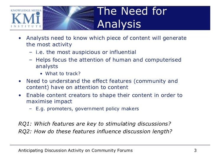 The Need for                                   Analysis• Analysts need to know which piece of content will generate  the m...