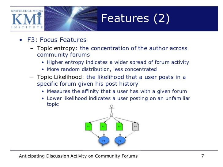 Features (2)• F3: Focus Features    – Topic entropy: the concentration of the author across      community forums         ...