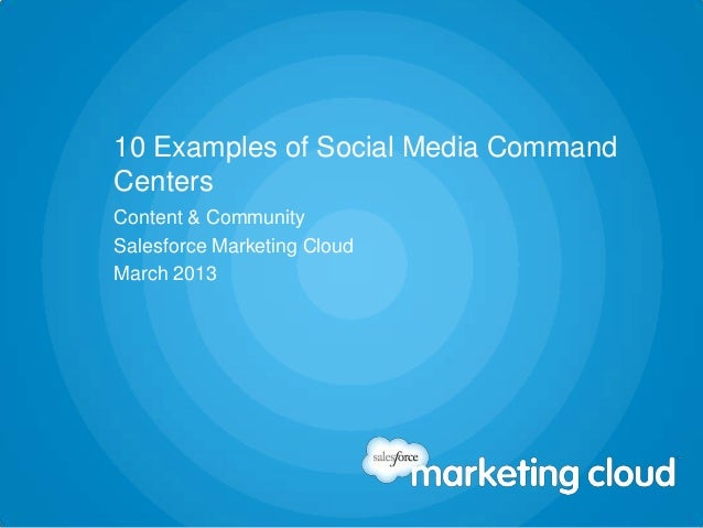 10 Examples of Social Media CommandCentersContent & CommunitySalesforce Marketing CloudMarch 2013