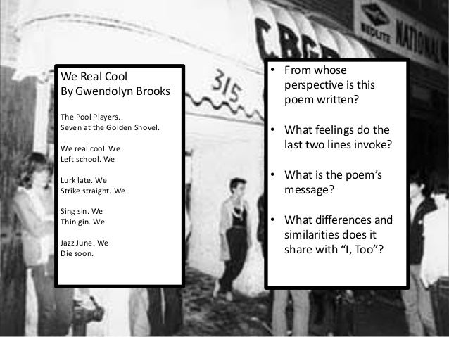 we real cool poem analysis line by line