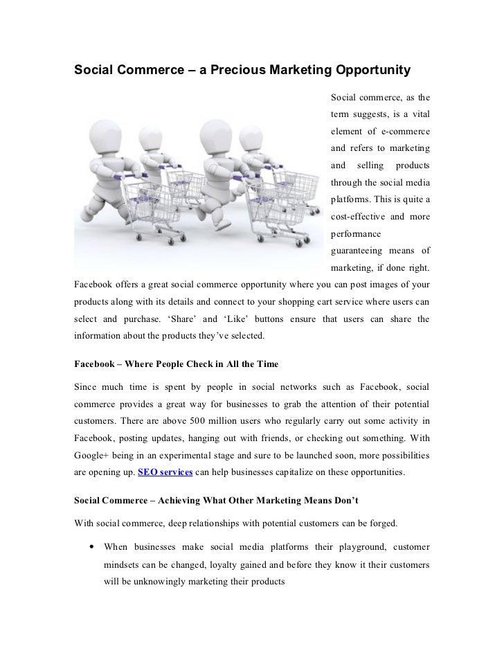 Social Commerce – a Precious Marketing Opportunity                                                                Social c...
