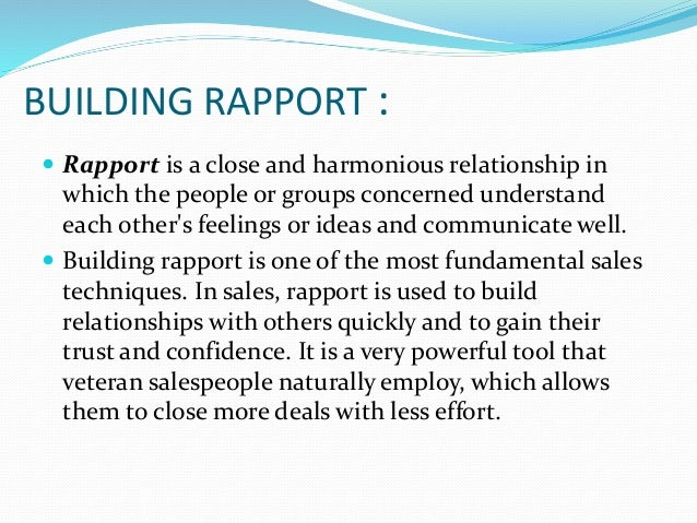 What does building rapport mean