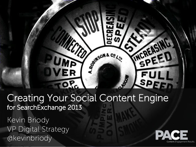 Creating Your Social Content Engine for SearchExchange 2013 Kevin Briody VP Digital Strategy @kevinbriody