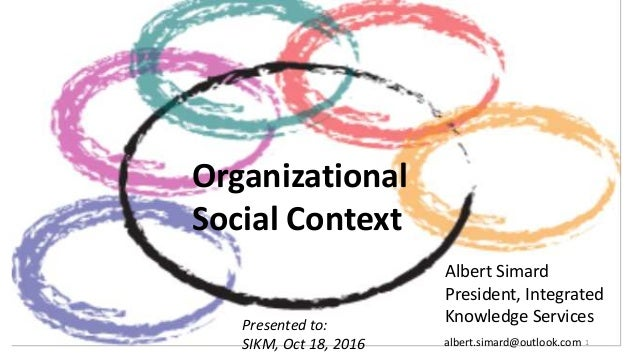 Organizational Social Context Albert Simard President, Integrated Knowledge ServicesPresented to: SIKM, Oct 18, 2016 1albe...