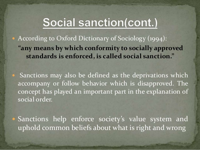 sanctions definition sociology