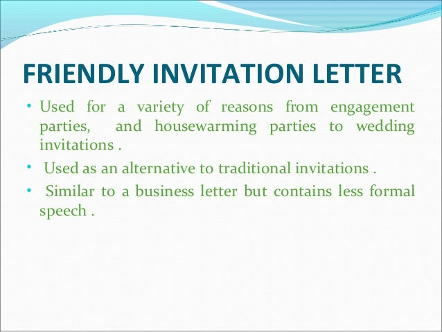 Social correspondence 12 friendly invitation letter altavistaventures Choice Image