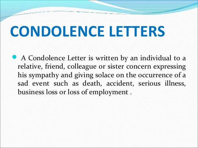 Writing letters of sympathy and condolence