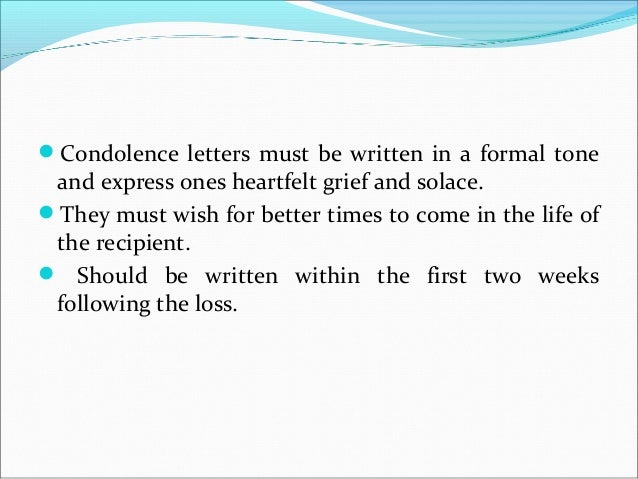 Social correspondence – Formal Letter of Condolence