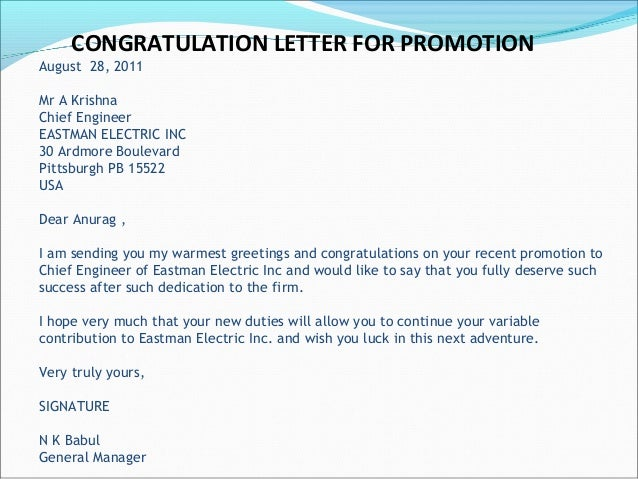congratulations letter on new job
