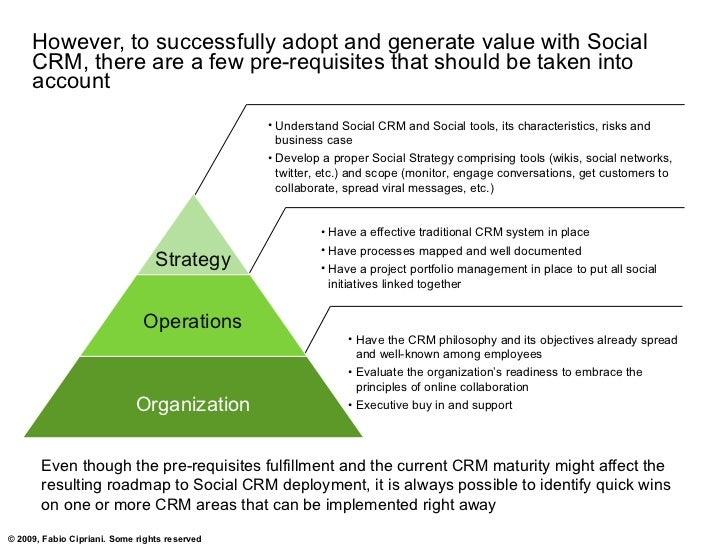 However, to successfully adopt and generate value with Social      CRM, there are a few pre-requisites that should be take...