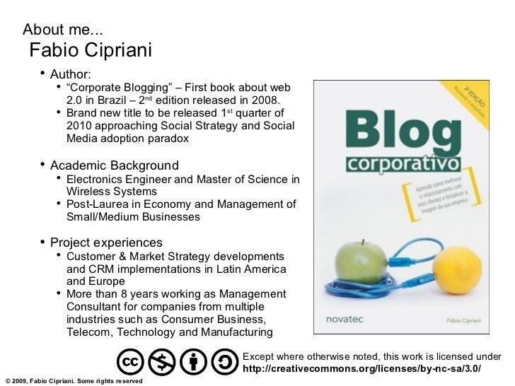 "About me...        Fabio Cipriani            ●                Author:                 ●                     ""Corporate Blo..."