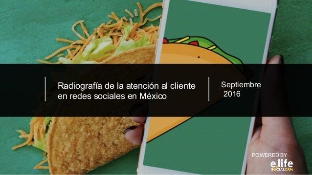 Radiografía de la atención al cliente en redes sociales en México POWERED BY Septiembre 2016