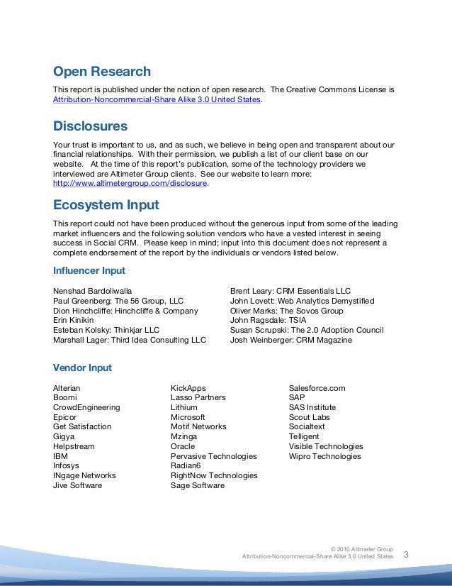 © 2010 Altimeter Group Attribution-Noncommercial-Share Alike 3.0 United States       3 Open Research This report is ...