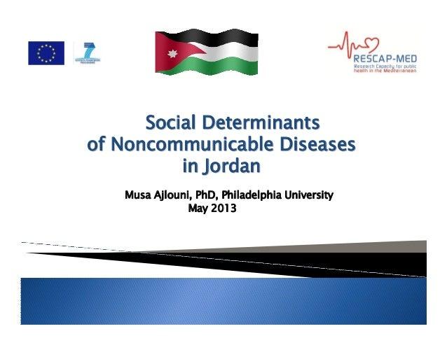 Social DeterminantsSocial Determinants ofof NoncommunicableNoncommunicable DiseasesDiseases in Jordanin Jordan Musa Ajloun...