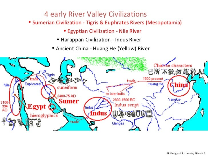4 early River Valley Civilizations PP Design of T. Loessin; Akins H.S. <ul><li>Sumerian Civilization - Tigris & Euphrates ...