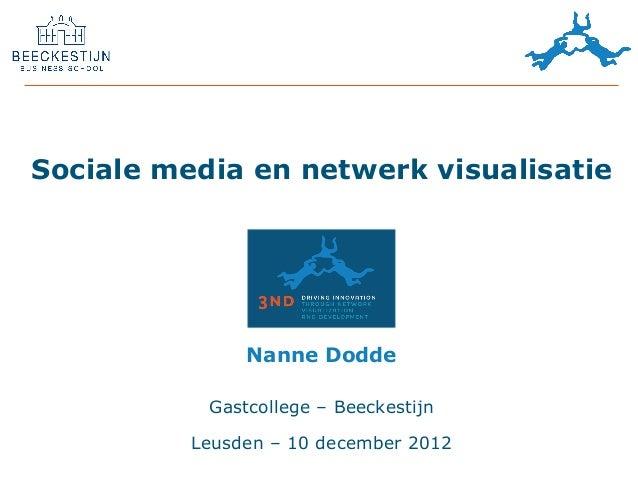 Sociale media en netwerk visualisatie               Nanne Dodde           Gastcollege – Beeckestijn          Leusden – 10 ...