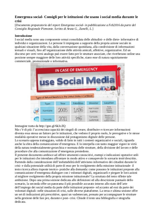 Emergenza social- Consigli per le istituzioni che usano i social media durante le crisi [Documento preparatorio del report...