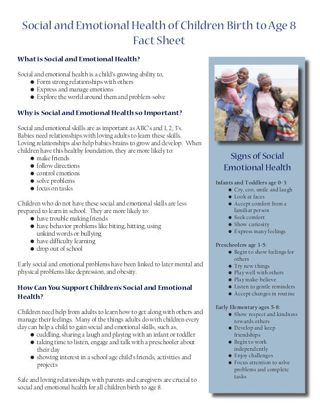 Social And Emotional Problems Related >> Social And Emotional Health Of Children Birth To Age 8 Fact Sheet