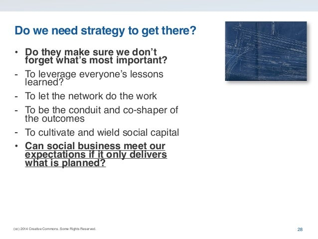 (cc) 2014 Creative Commons. Some Rights Reserved. Do we need strategy to get there? • Do they make sure we don't forget wh...