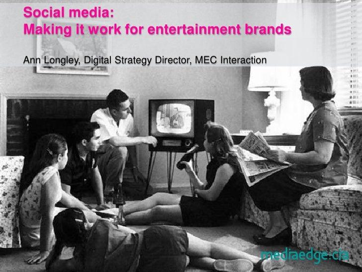 Social media: Making it work for entertainment brands  Ann Longley, Digital Strategy Director, MEC Interaction