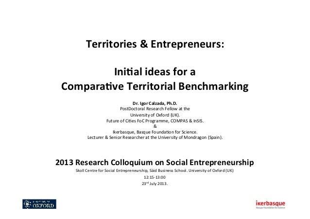 Territories  &  Entrepreneurs:      Ini0al  ideas  for  a   Compara0ve  Territorial  Benchmarking   ...