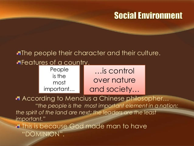 The people their character and their culture. Features of a country. People  People. is the Land. most Government. impo...