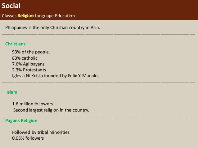 Social Classes Religion Language Education Philippines is the only Christian country in Asia. ____________________________...