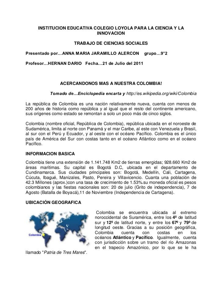 INSTITUCION EDUCATIVA COLEGIO LOYOLA PARA LA CIENCIA Y LA INNOVACION<br />TRABAJO DE CIENCIAS SOCIALES<br />Presentado por...