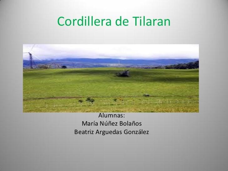 Cordillera de Tilaran            Alumnas:     María Núñez Bolaños   Beatriz Arguedas González