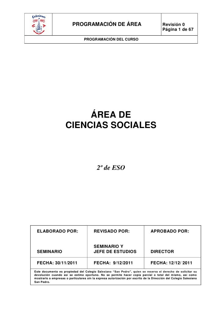 PROGRAMACIÓN DE ÁREA                                           Revisión 0                                                 ...
