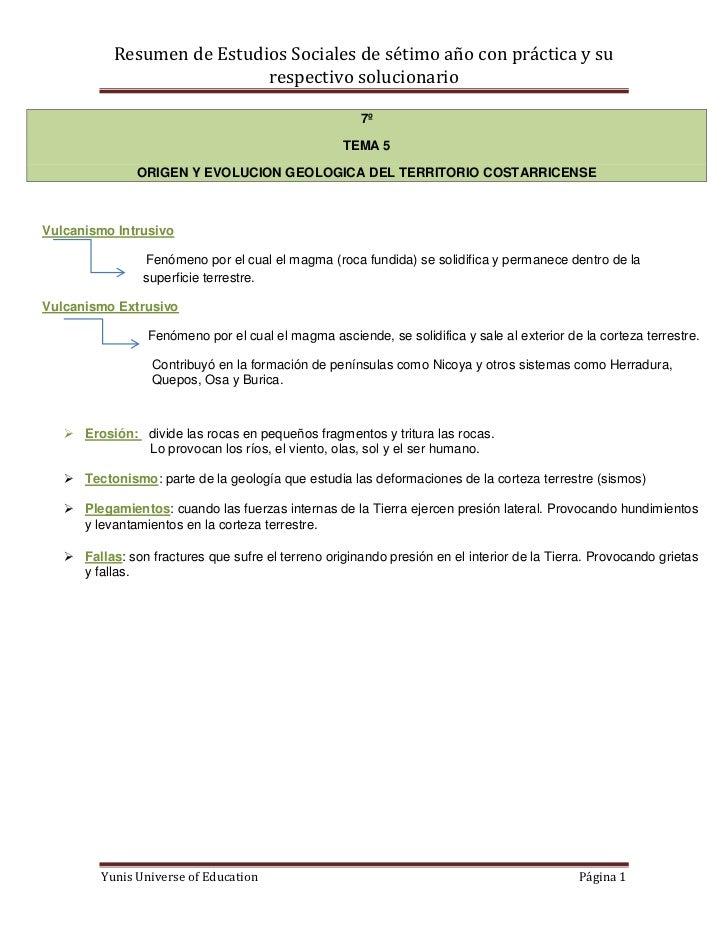 Resumen de Estudios Sociales de sétimo año con práctica y su                            respectivo solucionario           ...